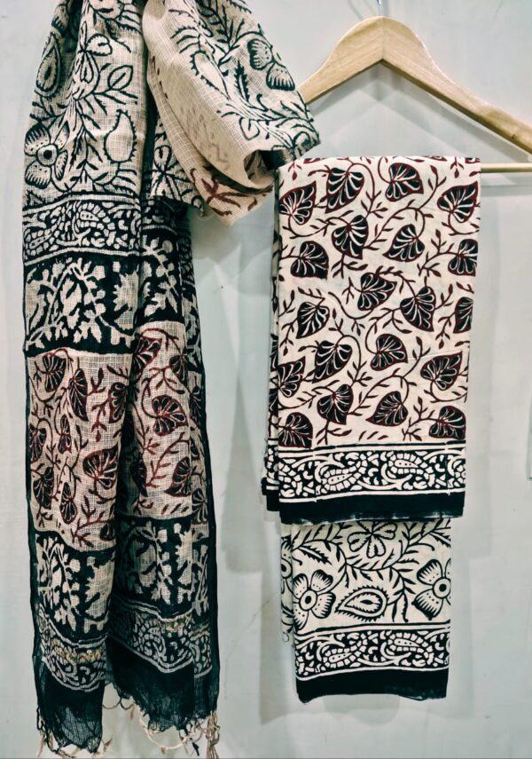 Bagh Print Suit with Kota Doriya Dupatta