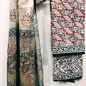Bagru Printed Suit with Kota Doriya Dupatta