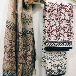 Bagru Print Kota Doriya Suit with Dupatta