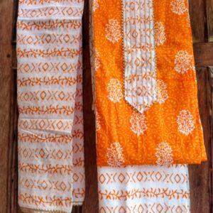 Block Printed Cotton Gota Patti Suits