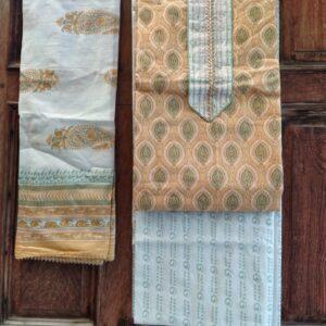 HandBlock Print Cotton Gota Patti Suit