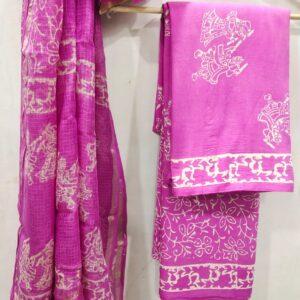 Pink Buta Print Hand Block Printed Cotton Salwar Suit with Kota Doriya Dupatta