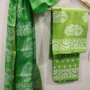 Green Buta Print Hand Block Printed Cotton Salwar Suit with Kota Doriya Dupatta