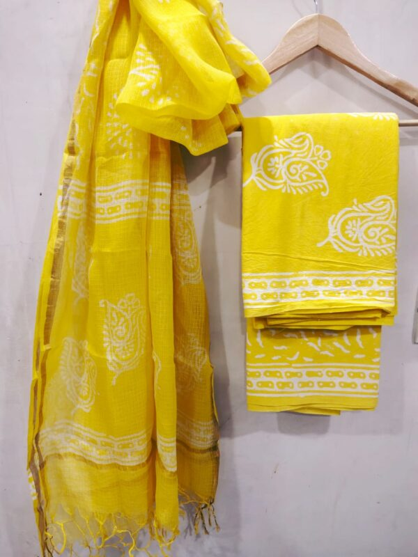 Yellow Buta Print Hand Block Printed Cotton Suit with Kota Doriya Dupatta