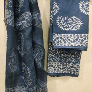 Buta Print Hand Block Printed Cotton Salwar Suit with Kota Doriya Dupatta