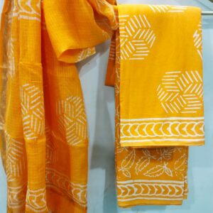 Yellow Buta Print Hand Block Printed Cotton Salwar Suit with Kota Doriya Dupatta