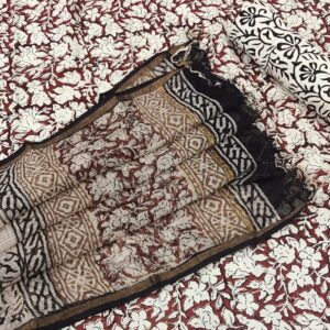 Hand Block Printed Cotton Salwar Suit with Kota Doriya Dupatta