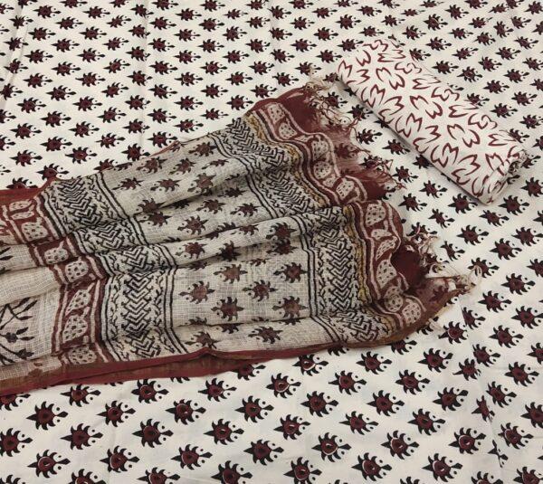 Bagru Hand Block Printed Cotton Salwar Suit with Kota Doriya Dupatta