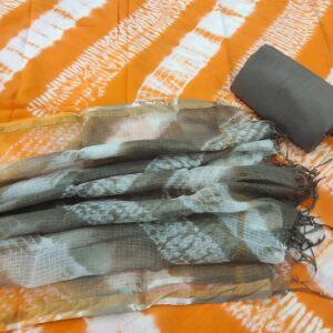 Orange Hand Block Printed Cotton Salwar Suit with Kota Doriya Dupatta