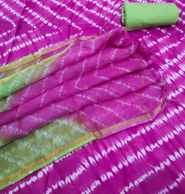 Pink Geometric Hand Block Printed Cotton Salwar Suit with Kota Doriya Dupatta