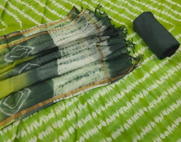 Green Print Hand Block Printed Cotton Salwar Suit with Kota Doriya Dupatta