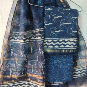 Indigo Chanderi Silk Top & Dupatta With Cotton Bottom - HandBlock Printed Salwar Suit Set -